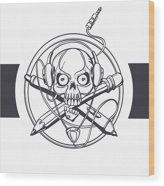 Symbol Wood Print featuring the digital art Vector Illustration Of A Black Skull by Frostyara
