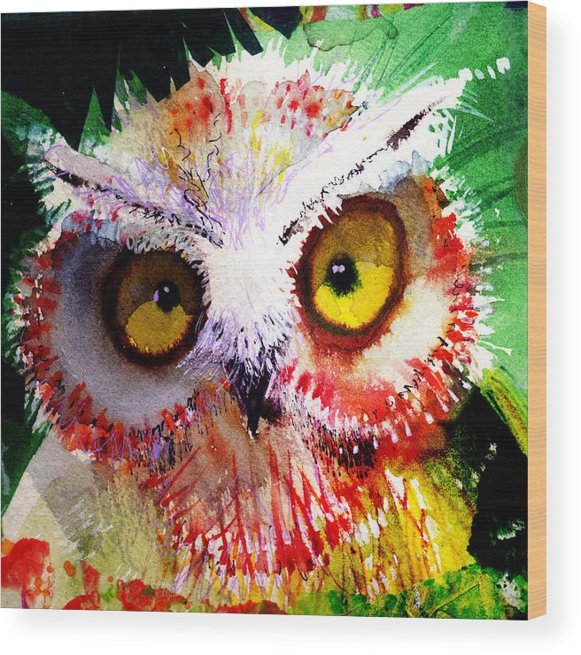 Owl Wood Print featuring the painting Vexed by Laurel Bahe