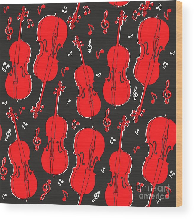 Play Wood Print featuring the digital art Violin Pattern by Subbery