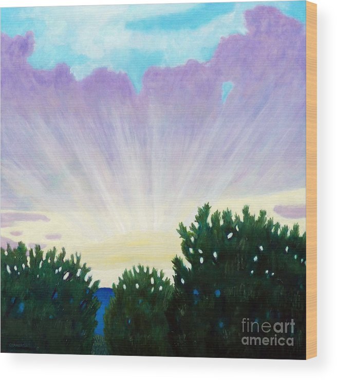 Skyscape Wood Print featuring the painting Visionary Sky by Brian Commerford