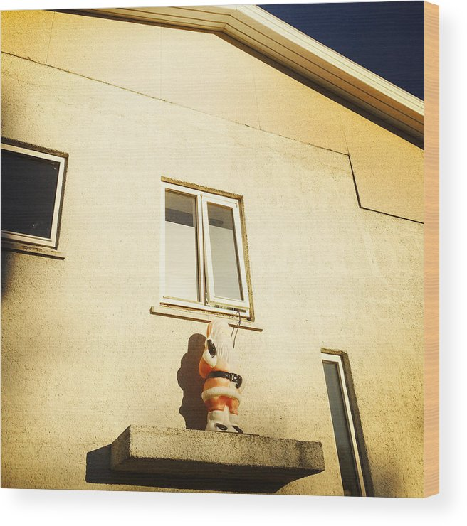 Quirky Wood Print featuring the photograph Xmas Decoration With Santa In June Akureyri Iceland by Matthias Hauser