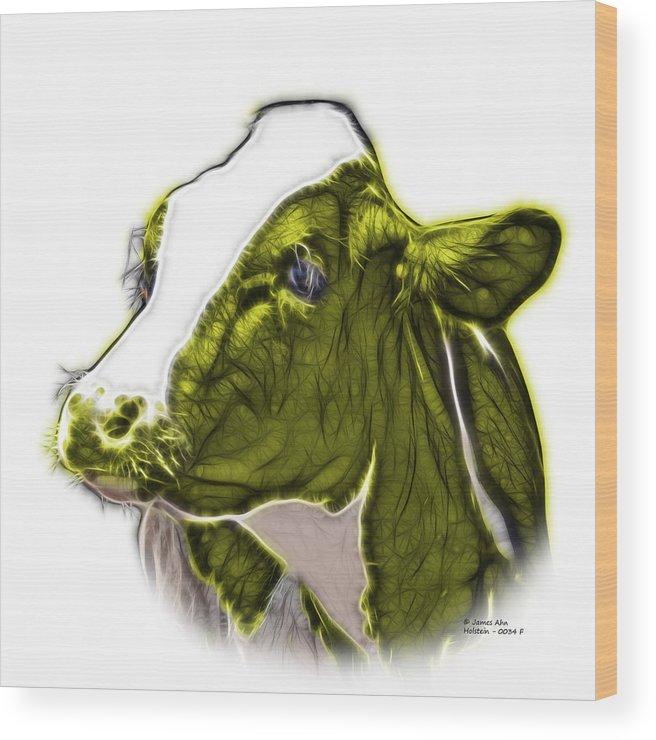 Cow Wood Print featuring the digital art Yellow Cow Holstein - 0034 Fs by James Ahn