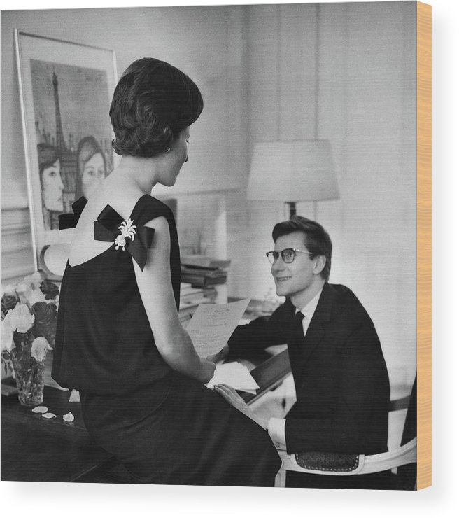 Indoors Wood Print featuring the photograph Yves St. Laurent With His Mother by Willy Rizzo