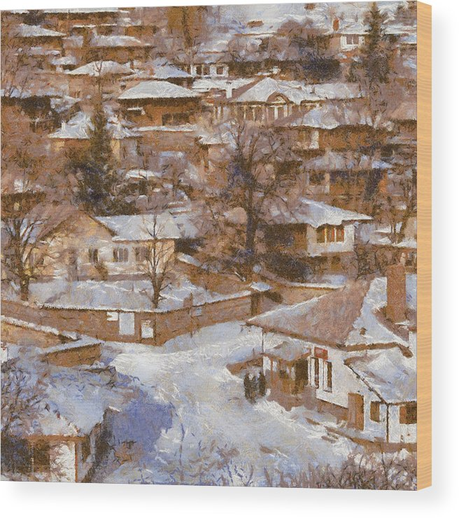 Winter Wood Print featuring the painting Zheravna by Georgi Dimitrov