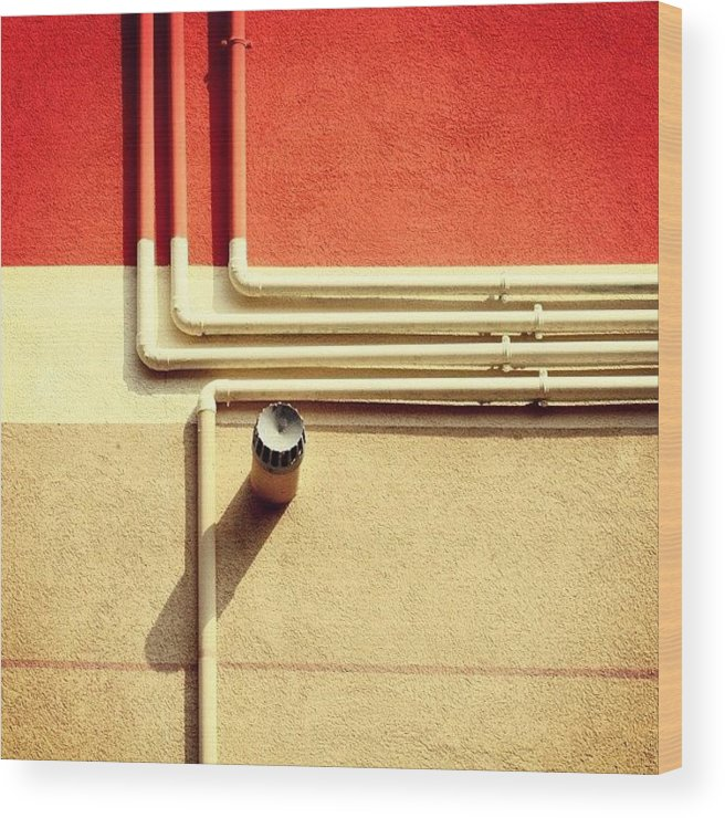 Summer Wood Print featuring the photograph All That Jazz #geometry #color #pipes by A Rey