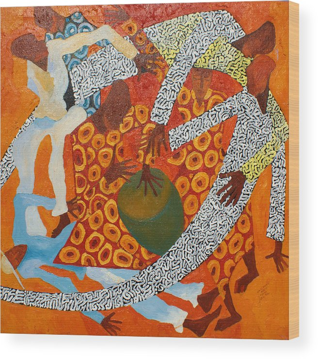 Linear Wood Print featuring the painting Dancers IIi by Anina von Wachtel Diani Beach Art Gallery
