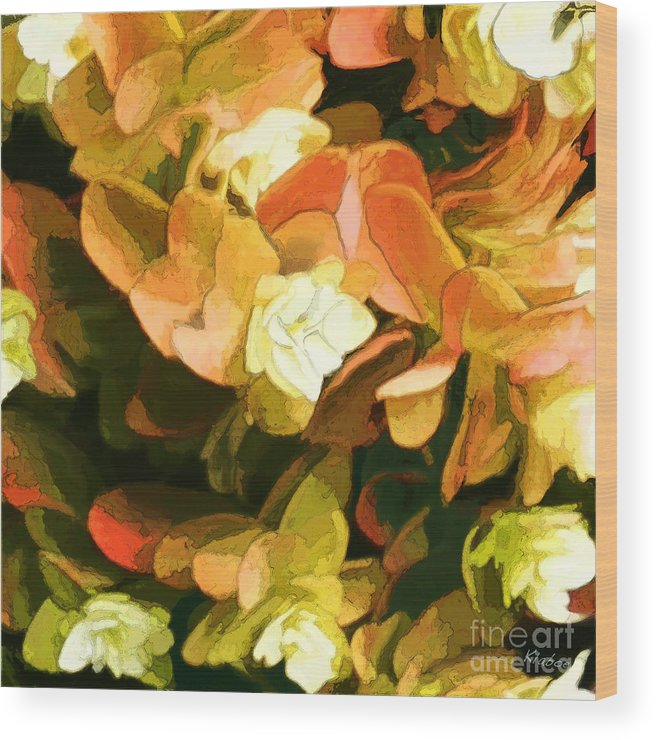 Small White Flowers Wood Print featuring the digital art Floral Print by David Klaboe