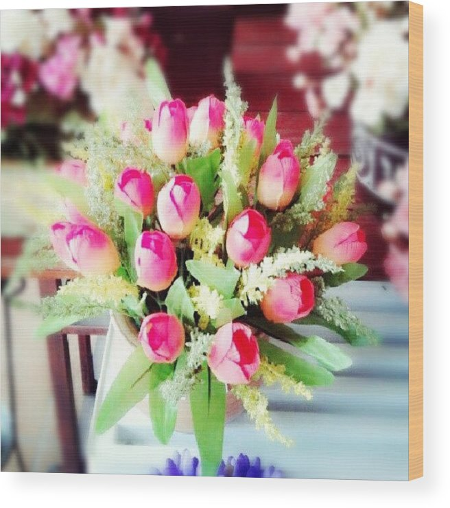 Good Morning 3 Flower Garden Pink Wood Print By Ivan Braginski