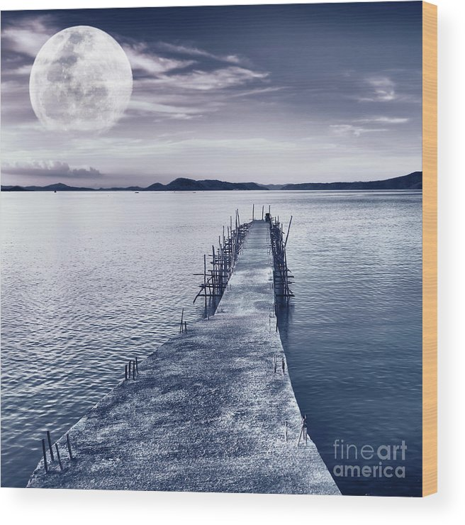 Moonlight Wood Print featuring the photograph Moon by MotHaiBaPhoto Prints