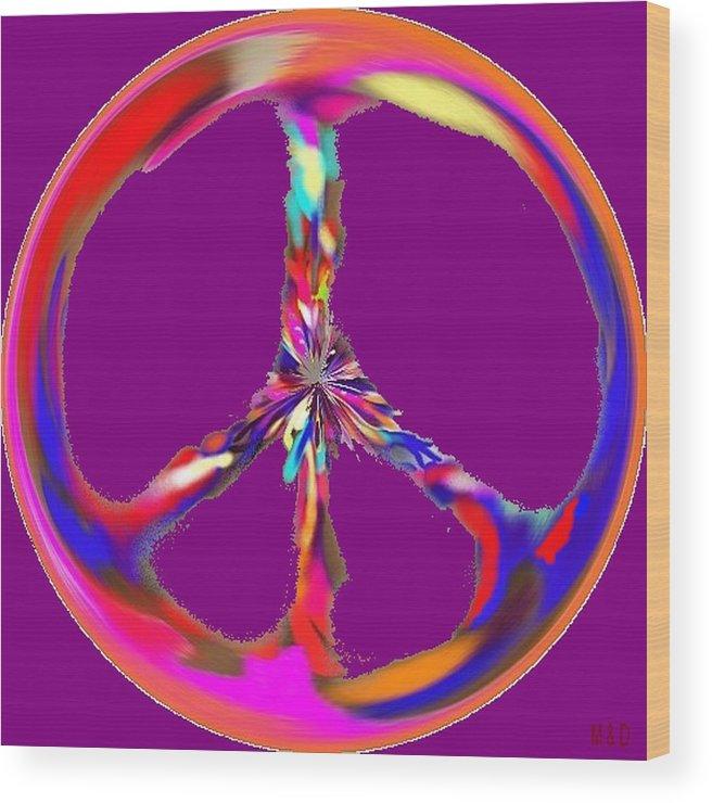 Peace Symbol Wood Print featuring the digital art Movement by Dorota Bajer