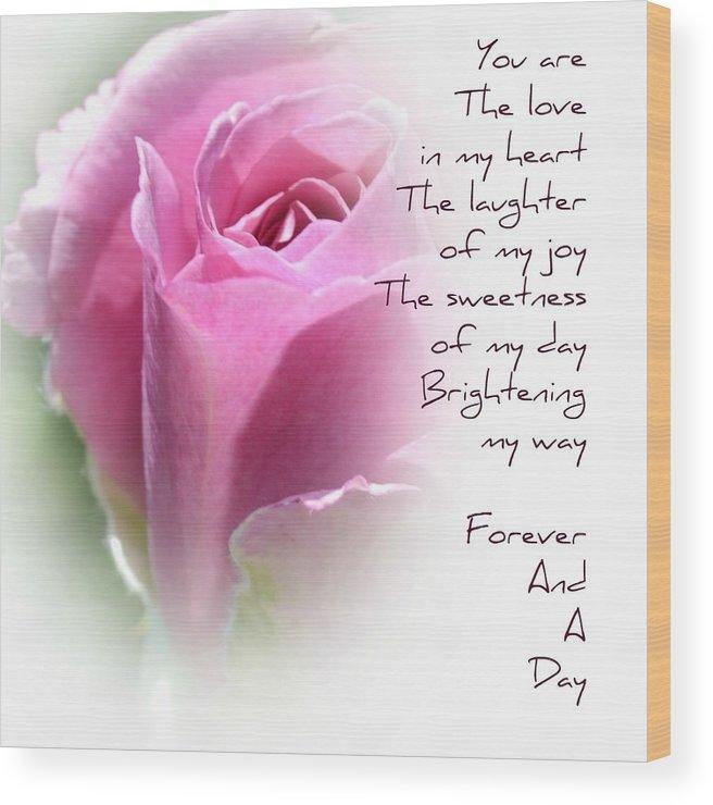 Rose Forever Poem Wood Print
