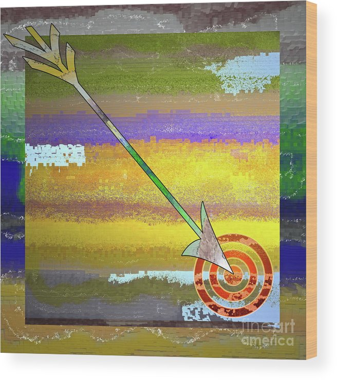 Target Wood Print featuring the digital art Target by Gwyn Newcombe