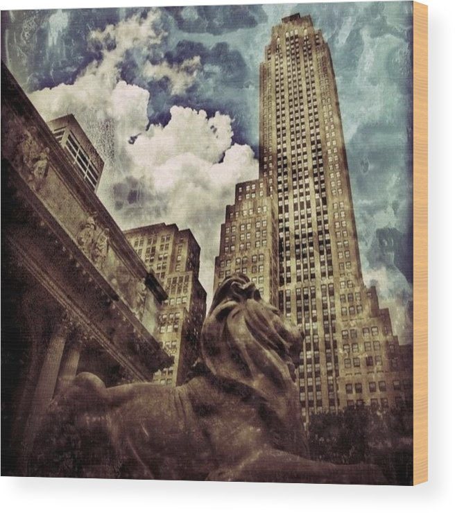 Building Wood Print featuring the photograph The Resting Lion - Nyc by Joel Lopez