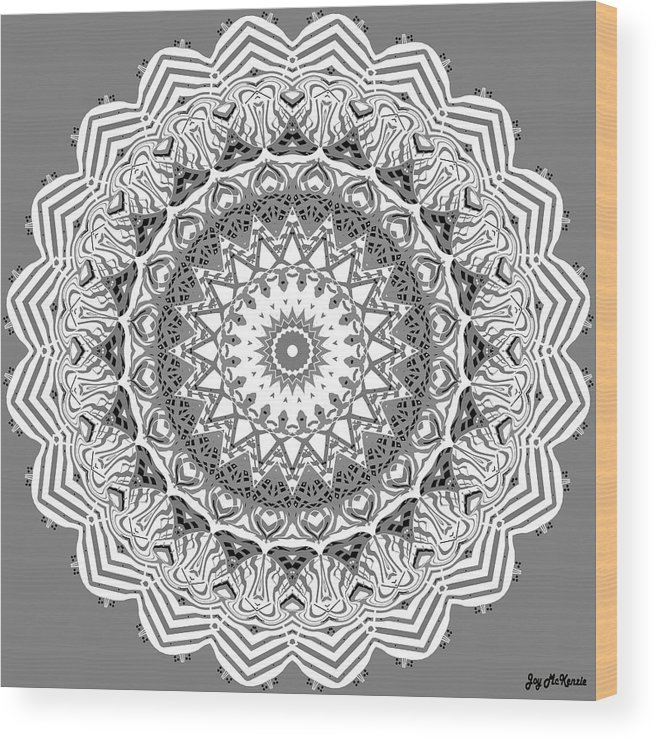 Digital Wood Print featuring the digital art The White Mandala No. 2 by Joy McKenzie