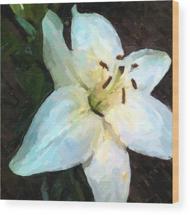 Floralart; White Lily; Oil Painting; Flower Oil Painting; Still Life; Flower Art; Wood Print featuring the painting White Lily Listening by Ben Brinkburn