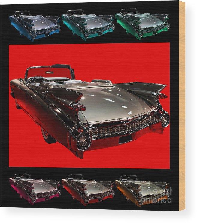 1959 Cadillac Eldorado Convertible Wood Print featuring the photograph 1959 Cadillac Eldorado Convertible . Wing Angle Artwork by Wingsdomain Art and Photography