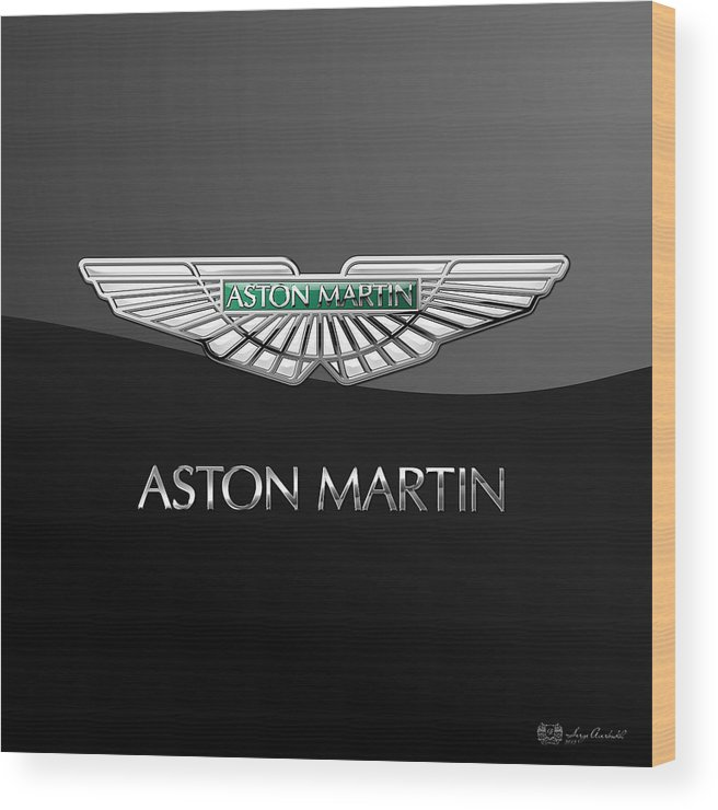 'wheels Of Fortune� Collection By Serge Averbukh Wood Print featuring the photograph Aston Martin 3 D Badge On Black by Serge Averbukh