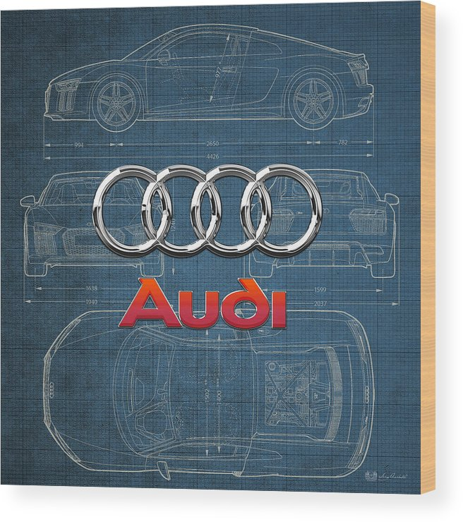 �wheels Of Fortune� Collection By Serge Averbukh Wood Print featuring the photograph Audi 3 D Badge Over 2016 Audi R 8 Blueprint 1 by Serge Averbukh