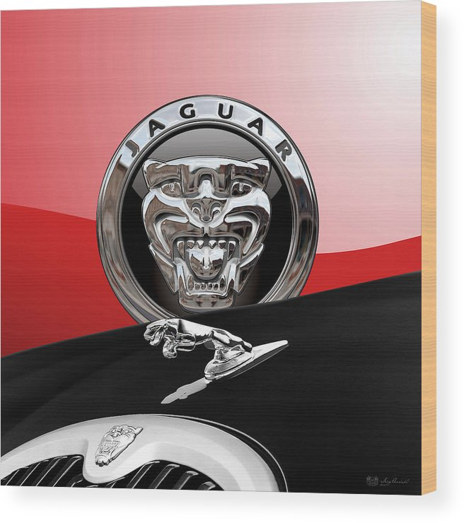 'auto Badges' Collection By Serge Averbukh Wood Print featuring the photograph Black Jaguar - Hood Ornaments And 3 D Badge On Red by Serge Averbukh