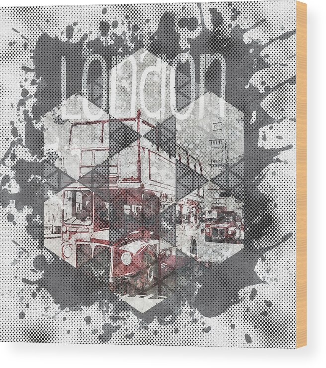Abstract Wood Print featuring the photograph Graphic Art London Streetscene by Melanie Viola