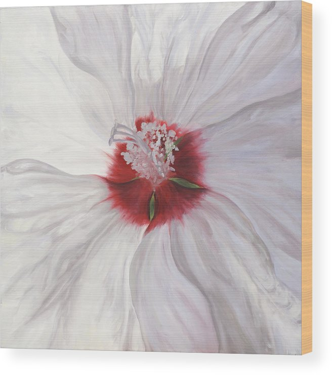 White Wood Print featuring the painting Hibiscus by Sherry Burnett