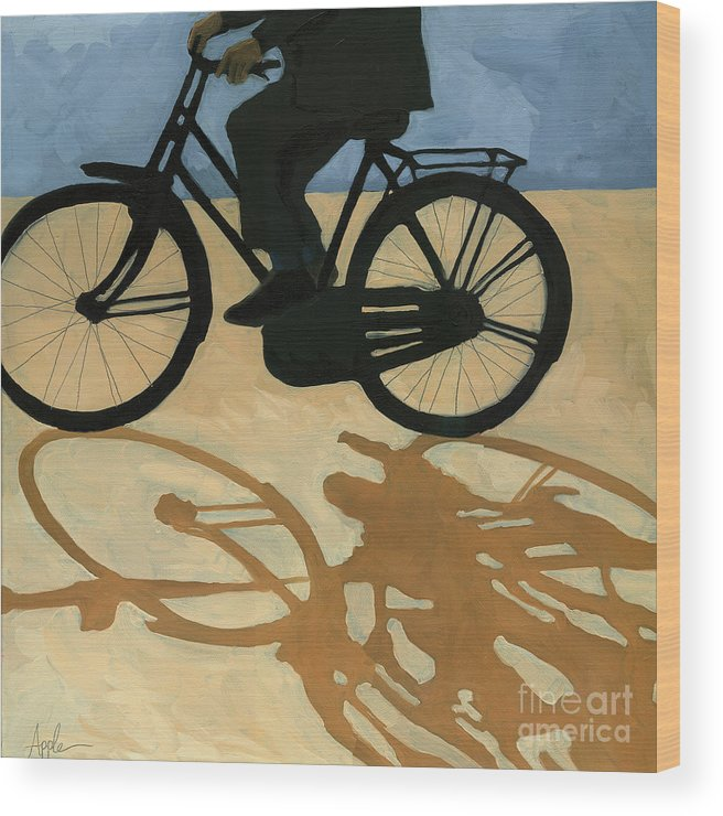People Paintings Wood Print featuring the painting Off To Work - Painting by Linda Apple