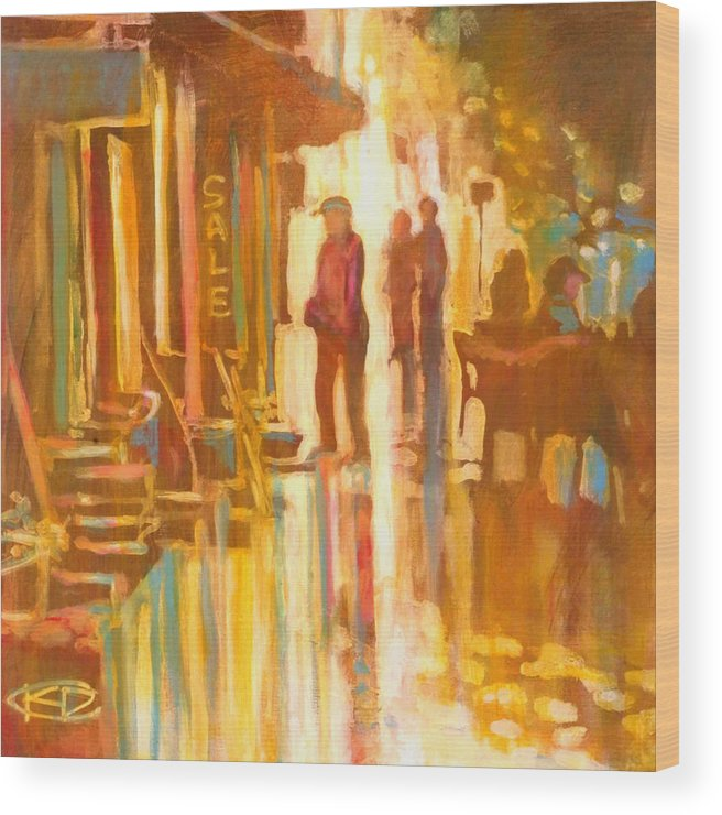 Shopping Wood Print featuring the painting Sidewalk Sale by Kip Decker