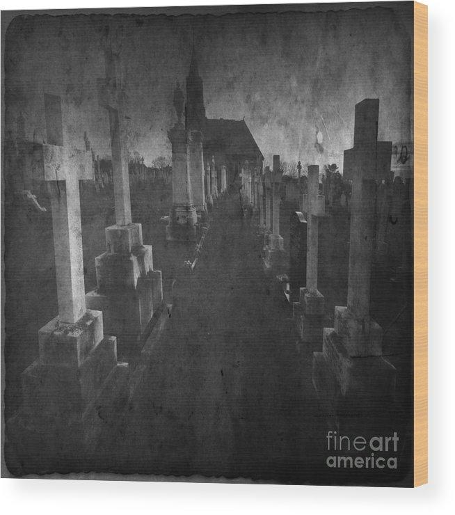 Graveyard Wood Print featuring the photograph The Graveyard by Angel Ciesniarska