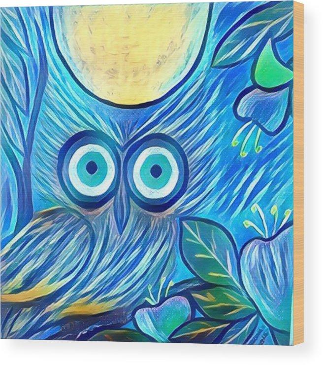 Wood Print featuring the digital art Owl Midnight by Melinda Sullivan Image and Design