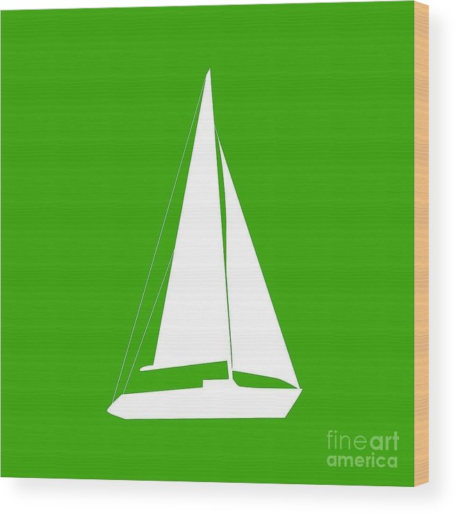Graphic Art Wood Print featuring the digital art Sailboat In Green And White by Jackie Farnsworth