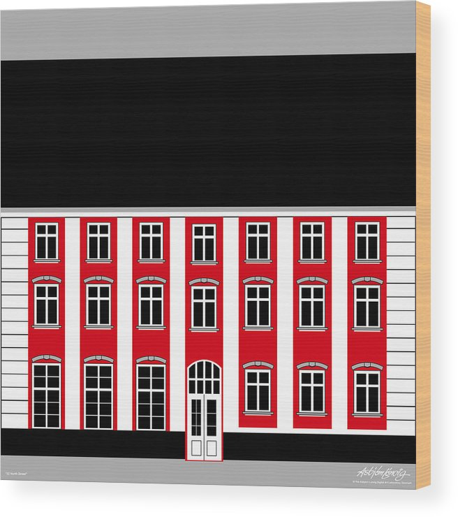 22 North Street Wood Print featuring the painting 22 North Street by Asbjorn Lonvig