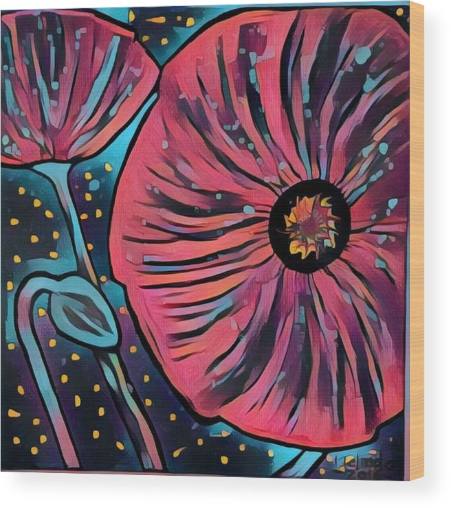Wood Print featuring the digital art Poppy by Melinda Sullivan Image and Design