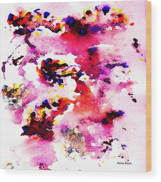 Abstract Art Wood Print featuring the painting Abstract Art by Hema Rana