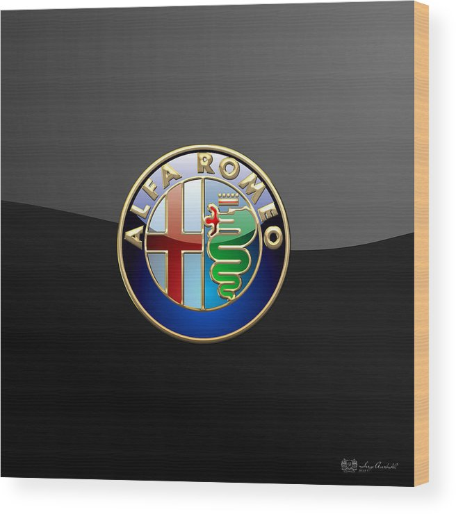 Wheels Of Fortune� Collection By Serge Averbukh Wood Print featuring the photograph Alfa Romeo - 3 D Badge On Black by Serge Averbukh