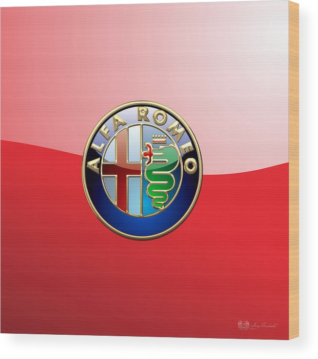 Wheels Of Fortune By Serge Averbukh Wood Print featuring the photograph Alfa Romeo - 3d Badge On Red by Serge Averbukh