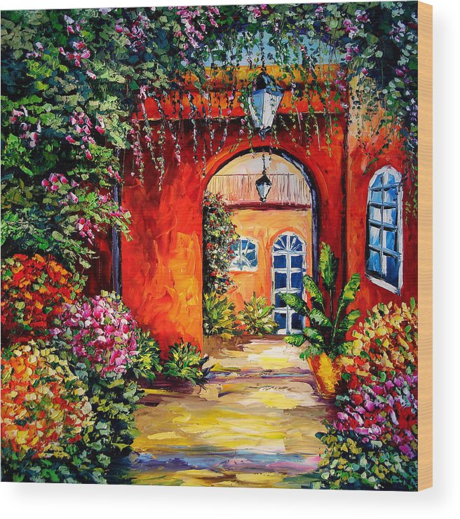 Sasik Wood Print featuring the painting Archway Garden by Beata Sasik