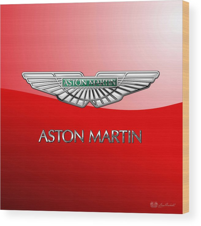 Wheels Of Fortune� Collection By Serge Averbukh Wood Print featuring the photograph Aston Martin - 3 D Badge On Red by Serge Averbukh