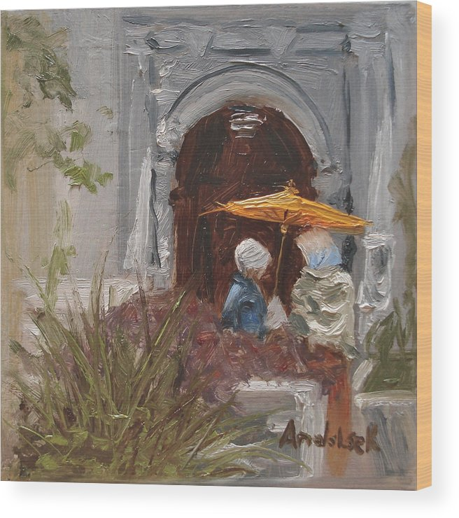 Parks Wood Print featuring the painting At Balboa Park by Barbara Andolsek