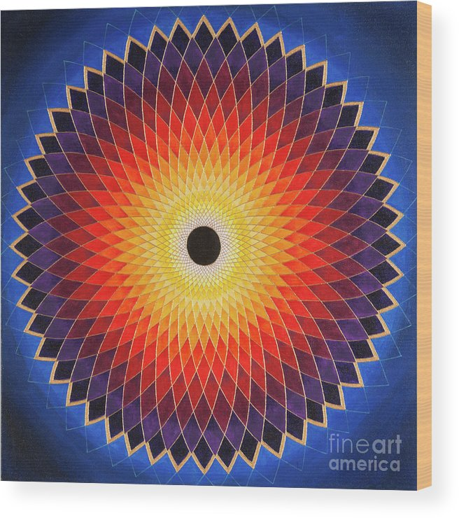 Mandala Wood Print featuring the painting Aussie Sun by Charlotte Backman