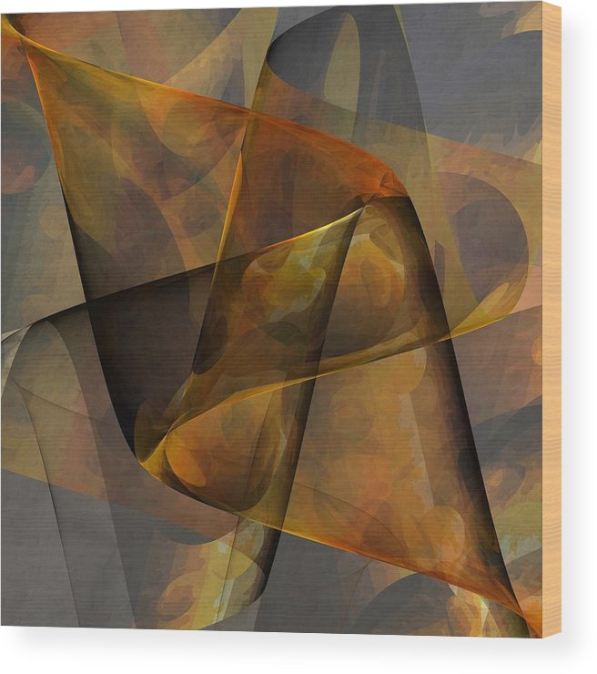 Abstract Wood Print featuring the digital art Autumn Wave by Ian Duncan Anderson