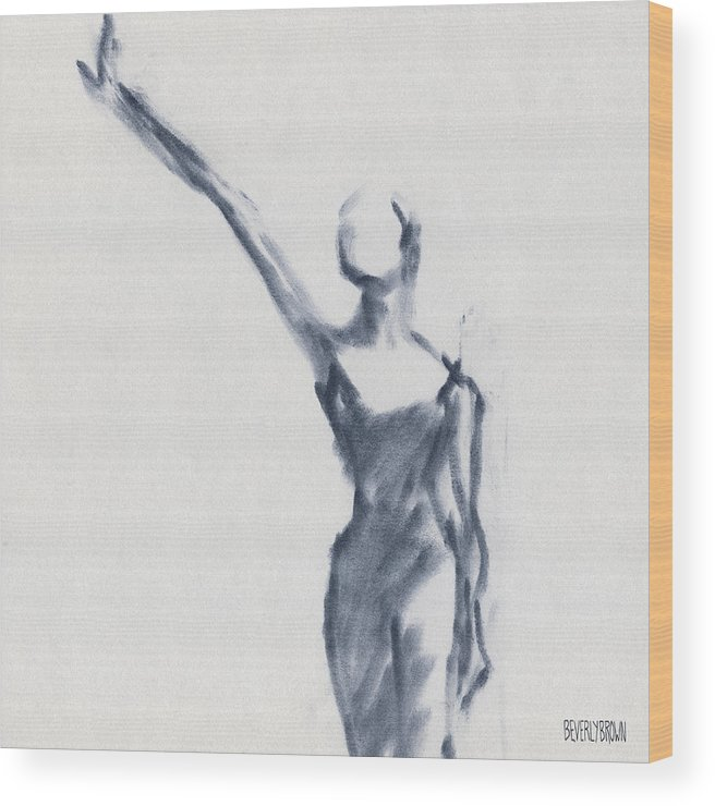 Ballet Wood Print featuring the drawing Ballet Sketch One Arm Extended by Beverly Brown