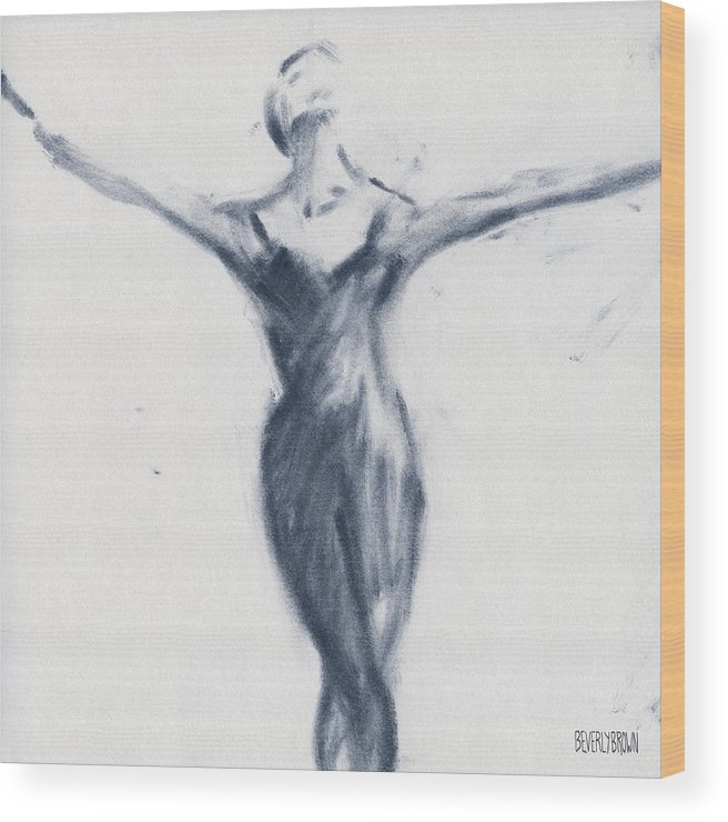 Ballet Wood Print featuring the drawing Ballet Sketch Open Arms by Beverly Brown