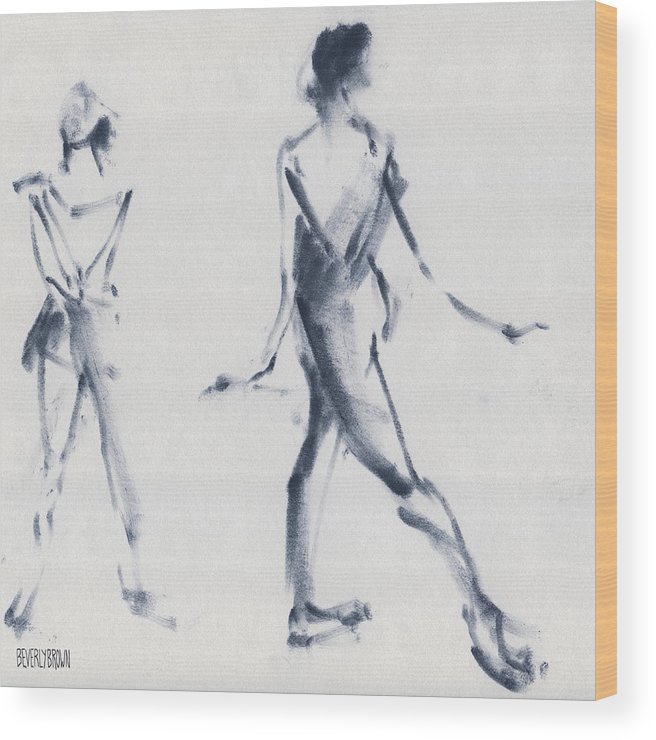 Ballet Wood Print featuring the drawing Ballet Sketch Tendu Back by Beverly Brown
