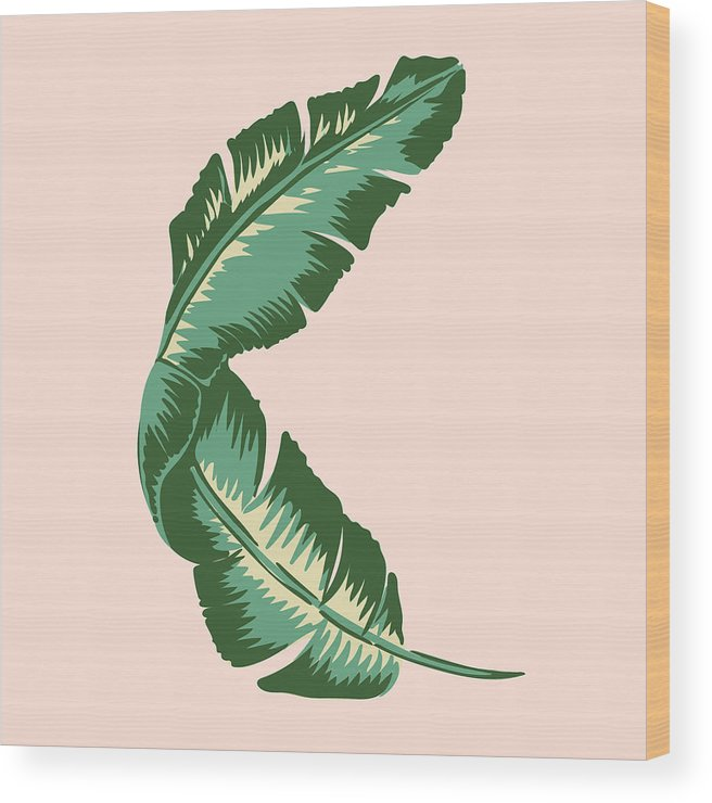 Leaf Wood Print featuring the digital art Banana Leaf Square Print by Lauren Amelia Hughes