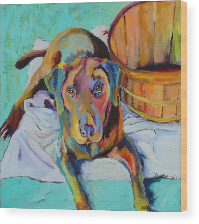 Chocolate Lab Wood Print featuring the painting Basket Retriever by Pat Saunders-White
