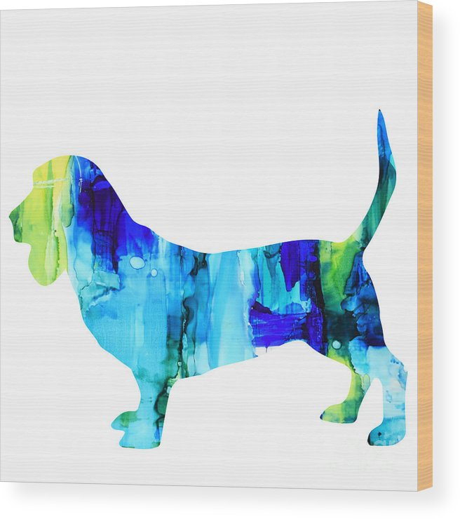 Pet Wood Print featuring the painting Basset Hound by Marla Beyer