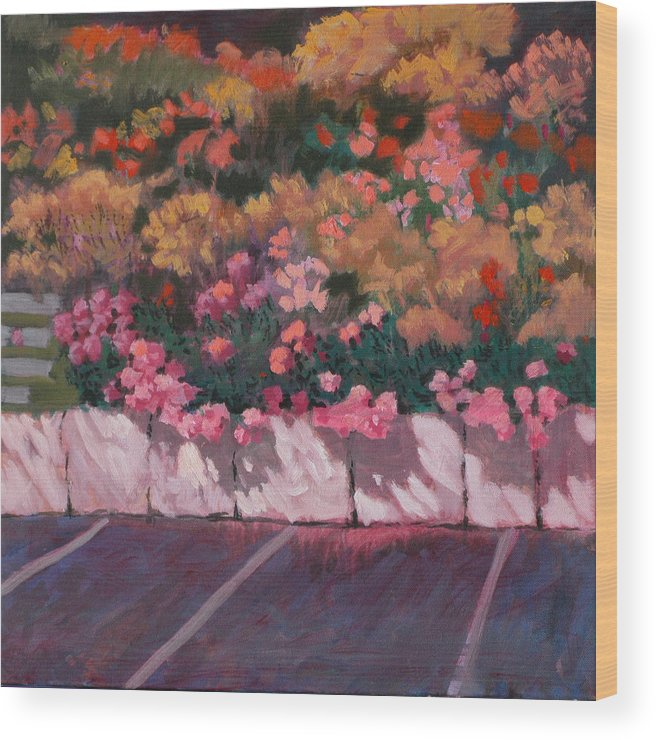 Flowers Wood Print featuring the painting Bayside Flowers by Robert Bissett