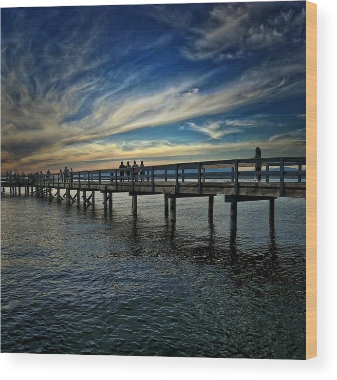 Beach Wood Print featuring the photograph Beach Pier by Chris Lavallee