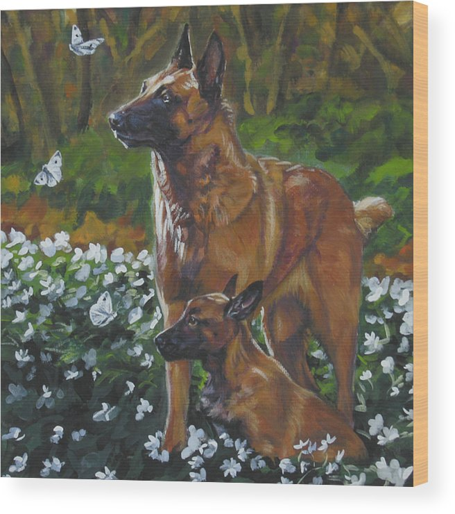 Belgian Malinois Wood Print featuring the painting Belgian Malinois With Pup by Lee Ann Shepard