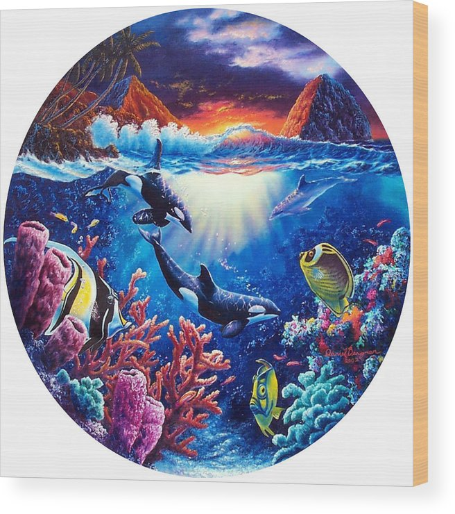 Whale Wood Print featuring the painting Beyond Our World by Daniel Bergren